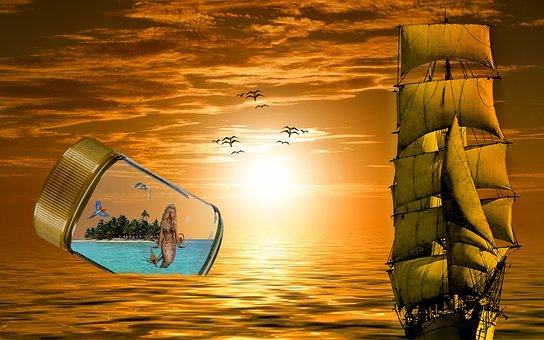Fantasy, Sea, Sailing Vessel, Mermaid, Glass, Birds