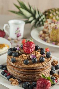 Pancake, Strawberry, Tea, Breakfast, Food, Dessert
