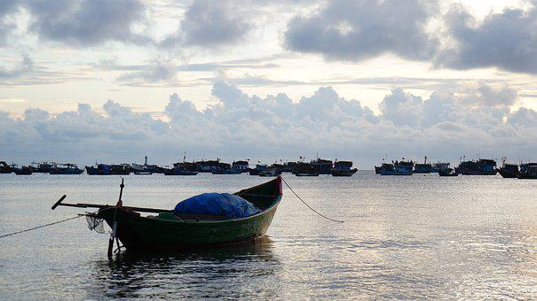 The Boat, The Sea, Sunset, Vietnam