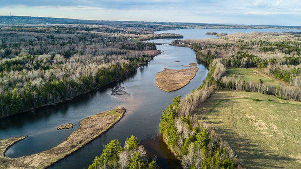 River, Harbour, Ocean, Forrest, Drone, Uav
