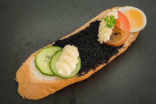 Caviar, Egg, Roll, Bread, Eat, Sandwich, Snack