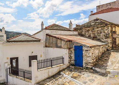 Greece, Skopelos, Chora, Village, Street, Alley