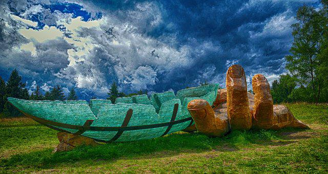 Glass Ark, Art, Glass, Ark, Boot, Noah, Meadow, Green