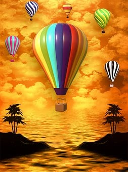 Balloon, Island, Clouds, Background, Sky, Summer