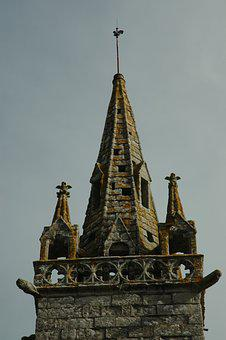 Steeple, Church, Building, France, Brittany