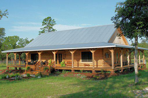 Country, Log Home, Tin Roof, Rural, Home, House, Cabin