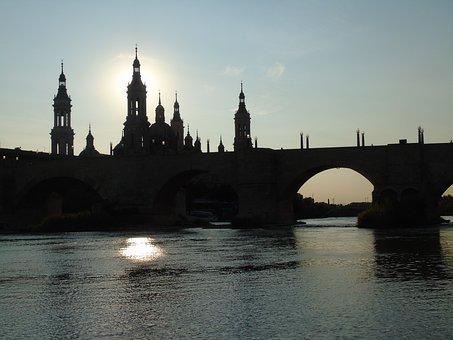 Pillar, River, Water, Bridge, City, Horizon, Saragossa