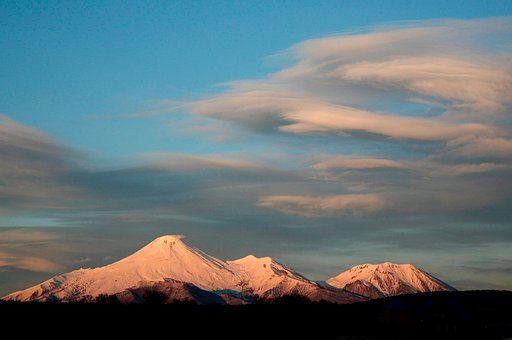 Volcanoes, Mountains, Winter, Snow, Sunset, Clouds