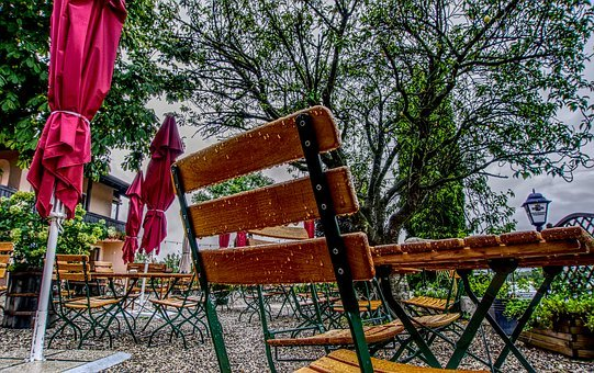Beer Garden, Rain, Chair, Table, Parasol, Wet, Drip