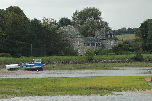 Ebb, Country House, Brittany, Boats, France, Coast