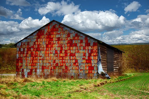 Barn, Field Barn, Old, Stainless, Rusted, Sky, Clouds