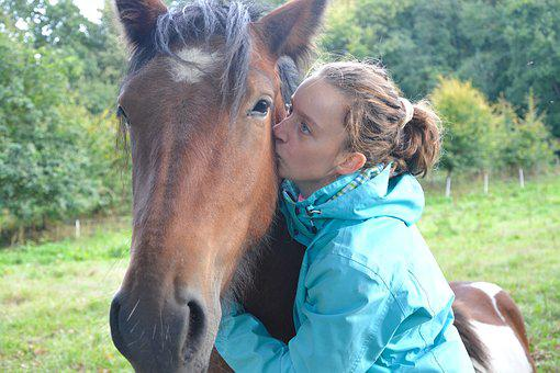 Kiss, Kisses, Horse, Girl, Young Woman, Friendships
