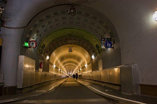 Elbe Tunnel, Hamburg, Tunnel, Lighting, Light, Transit