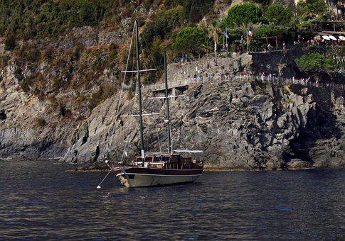 Cinque Terre, Liguria, Italy, Rocks, Sea, Boat, Holiday