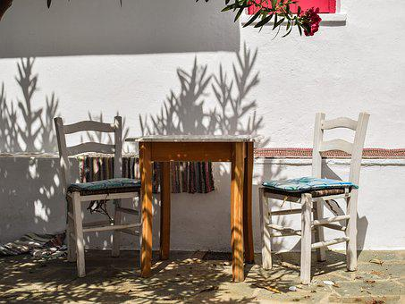 Yard, Table, Chairs, House, Red, Corner, Architecture