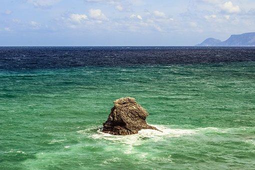 Greece, Skopelos, Rock, Alone, Landscape, Sea