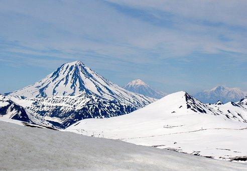Volcanoes, Mountains, Winter, Snow, Landscape, Nature