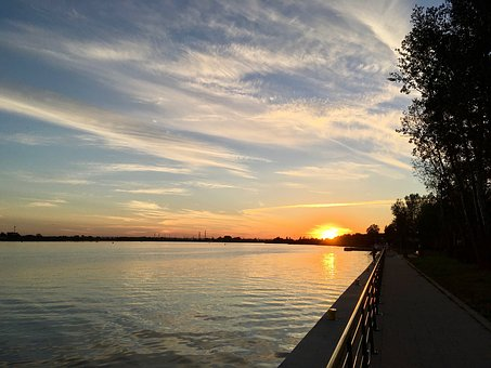 Sunset, Wisla, River, Landscape, West