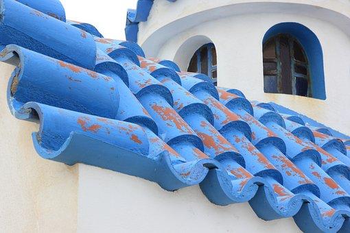 Greece, Church, Tiles, Plaster, Europe, Mediterranean
