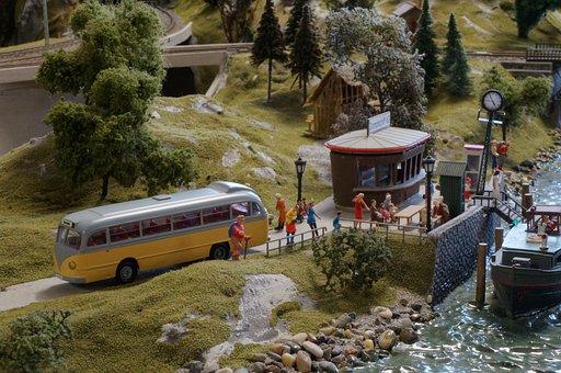 Model Train, Model Railway, Diorama, Bus, Model, Ship