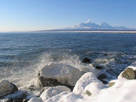 Volcanoes, Mountains, Ocean, Wave, Coast, Foam, Spray