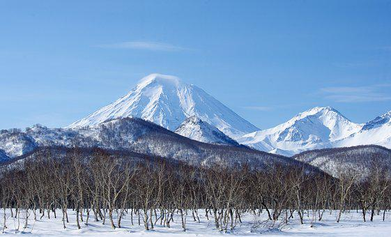 Volcanoes, Mountains, Winter, Forest, Snow, Landscape