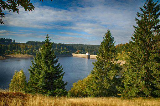 Reservoir, Nature, Landscape, Water, Trees, Horizon