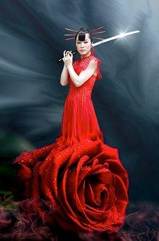 Fantasy, Samurai, Sword, Rose, Woman, Asian Girl