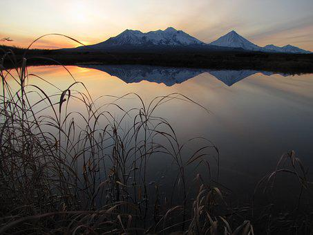 Volcanoes, Snowy Mountains, Vertices, Lake, Autumn