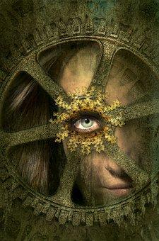 Fantasy, Portrait, Wheel, Eye, Human, Female, Woman