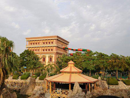 India, Water Park, Building, Architecture, Vacation