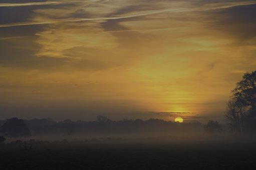 Sunrise, Nature, Landscape, Fog, Mood, Sun, Back Light