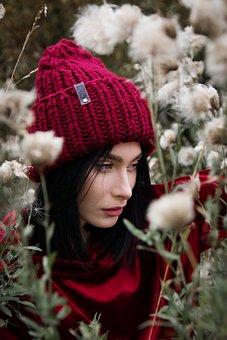 Girl, Brunette, Cap, Forest, Grass, Flowers, Profile