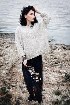 Girl, Brunette, Sea, Beach, Coast, Autumn, Sweater