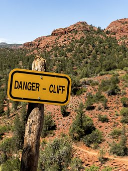 Danger, Sign, Desert, Red, Rock, State Park, Yellow