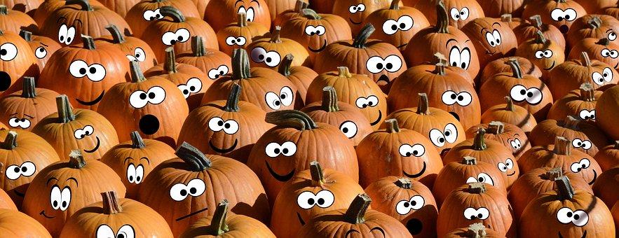 Pumpkins, Faces, Photo Montage, Edited, Autumn