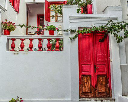 Greece, Skopelos, Chora, Village, House, Red
