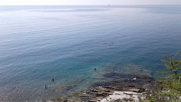 Kavala, Greece, Rocks, Water, Sea, Bathrooms, Summer