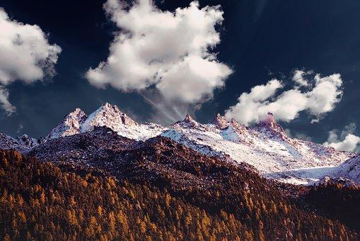 Mountain, Sky, Landscape, Hill, Rock, Sunlight, Cloud