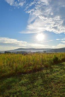 Sunrise, Field, Sky, Clouds, Nature, Summer, Landscape