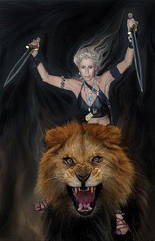 Sally On Her Lion, Creative Art, Composition, Photos