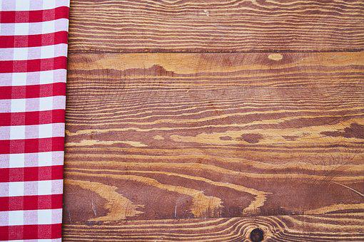 Table, Plaid, Wood, Cover, Red, Copy Space, Color Image
