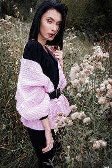 Girl, Brunette, Sweater, Forest, Grass, Flowers, Nature
