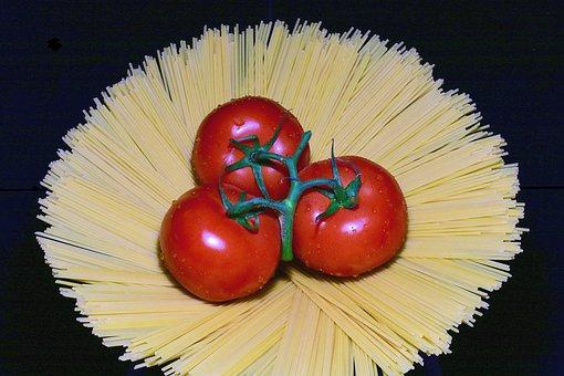 Spaghetti, Tomatoes, Food