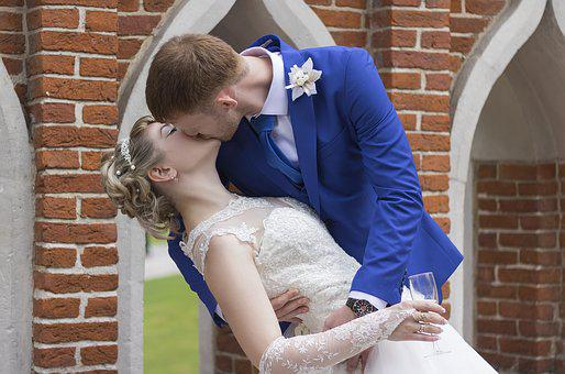 Wedding, Kiss, Bride, Marriage, Married, White