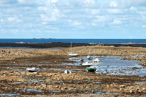 Brittany, Sailing Boat, Boot, Ebb, France, Rocky Coast
