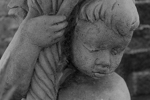 Black And White, Statue, Boy, Thinking Boy, Sad Boy
