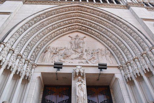 Cathedral Basilica, Arches, Mary, Baby, Church
