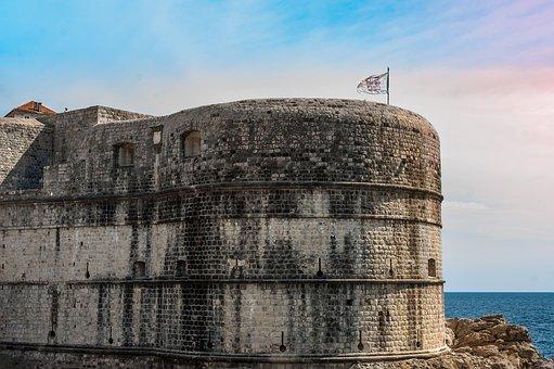 Walls, Dubrovnik, Croatia, Fortress, Flag, Sea, Ship