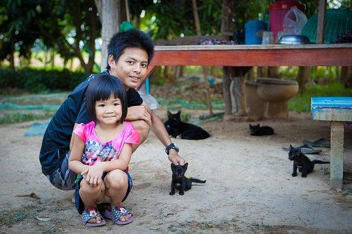 Countryside, Kitten, Girl, Girl And Dad, Back Yard